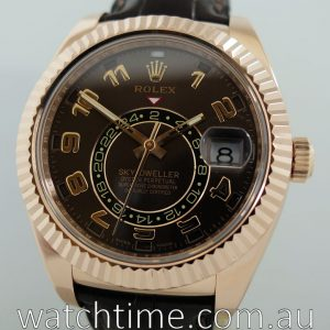 Rolex Sky Dweller Brown Dial GMT 18k Rose Gold Leather