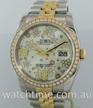 Rolex Datejust 18k   Steel  Floral dial and Diamonds 116243