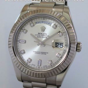 Rolex Day-Date II  41mm 18K White-Gold  Diamond-dial  218239  Box   Card 2015