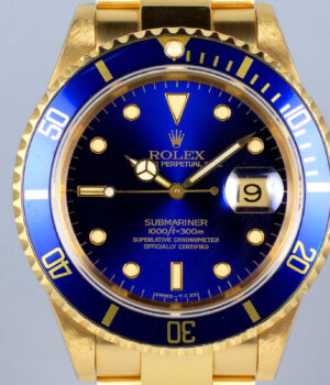 Rolex Submariner 18k GOLD 16618 Box   Papers July 2003 MINT