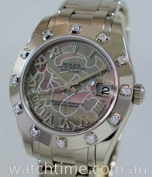 Rolex Pearlmaster 34  White-Gold  Special Dial   12 Diamond Bezel 81319
