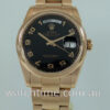 Rolex  Day-Date 36mm  18k Everose, Black dial  118205