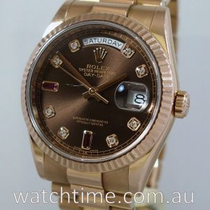 Rolex President EVEROSE Day Date  118235  Diamond   Ruby Dial