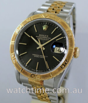 ROLEX  Datejust Turnograph  Black-dial Box   Papers