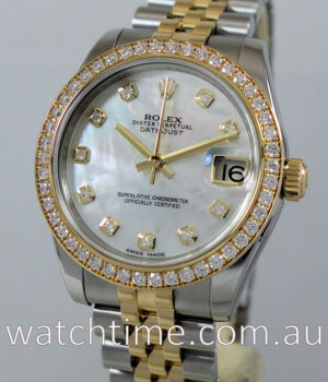 Rolex Datejust 31mm FACTORY Diamond BEZEL Mother-of-Pearl Dial 178383