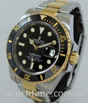 Rolex Submariner Gold   Steel  116613LN  Black-dial  AS NEW