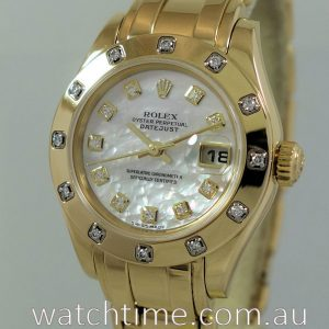 Rolex Datejust 18k Pearlmaster  Mother-of-Pearl Diamond Dial   Bezel  80318