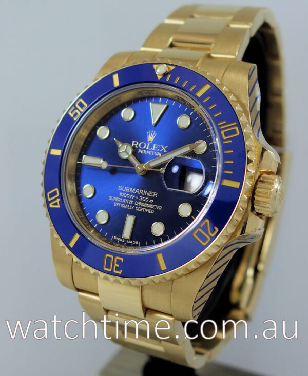 Rolex Submariner 18k Gold  Blue-dial 116618LB  Serviced by ROLEX