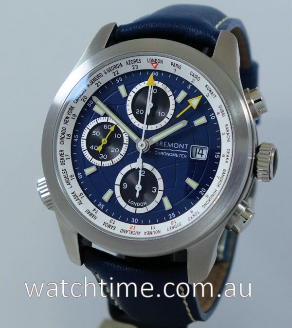 "BREMONT ALT1-WT WORLD TIMER Blue Box & Papers ""UNUSED"""