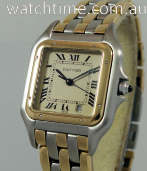 Cartier Panthere  18k Gold   Steel  Midsize  3 Rows of Gold