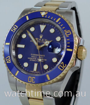 Rolex Submariner 116613LB Rare  Flat Blue-Dial Box   Papers