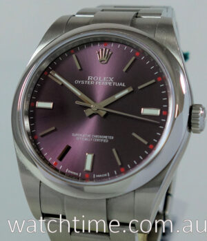 Rolex Oyster 39mm Red Grape Dial 114300 Box   Card
