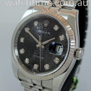 Rolex Datejust 36  Steel Black Diamond dial 116234 Box   Card